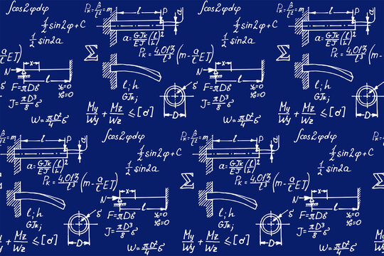 Background with physics formulas and equations. Vintage blueprint. Vector seamless pattern.