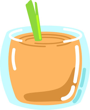Cocktail or smoothy drink in short glass with vegetable isolated vector graphic