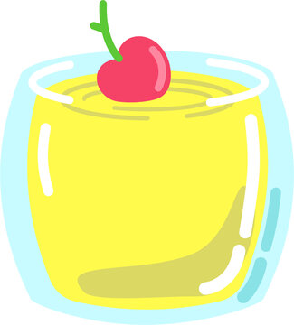 Cocktail or smoothy drink in short glass with cherry isolated vector graphic