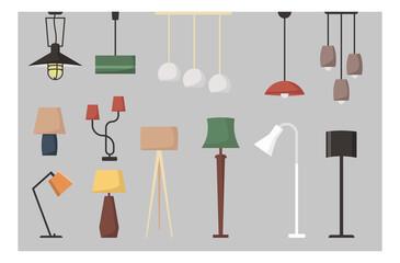 Fototapeta Set of lamp. Vector collection of floor lamp table lamp ceiling lamp. Vector cartoon set. obraz