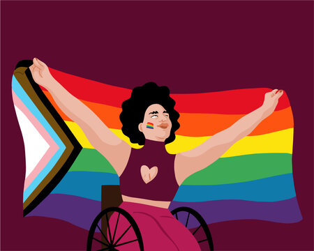 LGBTQIA+ Person in a wheelchair with black hair holding up a Rainbow, Progress Pride Flag