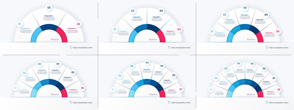 Vector round infographic chart templates in the form of semicircle. 3 4 5 6 7 8 options