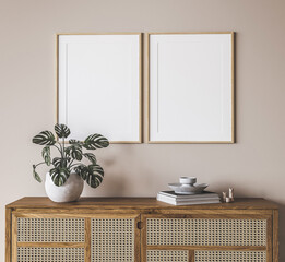 Mock up frame in Boho beige home interior background, 3d render