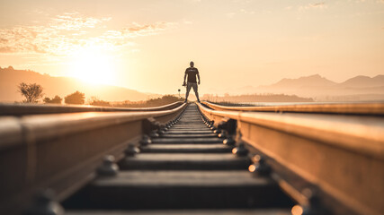 Silhouette of a person on a bridge at sunset 2