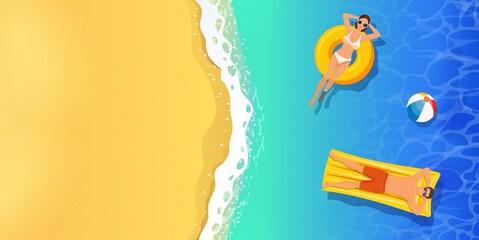 Obraz top view summer tropical banner. - fototapety do salonu
