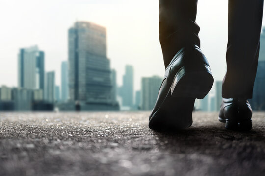 Motivation, Steps Forward into a Successful Concept. Challenging in Business and Career. Low Section of Businessman Walking on Street to City.