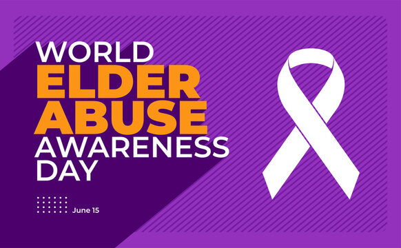 World Elder abuse awareness day background with long shadow style illustration.