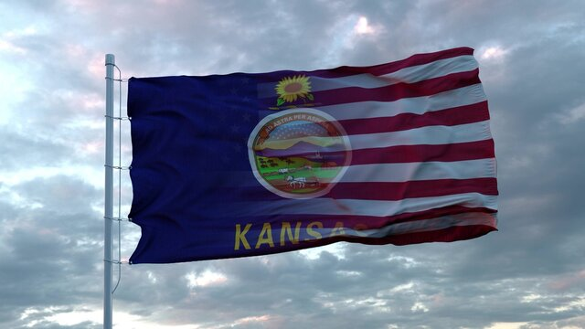 USA and Kansas Mixed Flag waving in wind. Kansas and USA flag on flagpole. 3d rendering