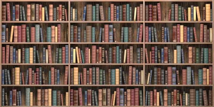 Vintage books on bookshelves in old library. Education and literature concept.