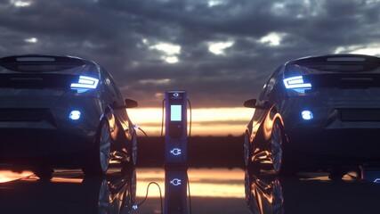 Fototapeta Electric cars charging at a charging station. 3d rendering obraz