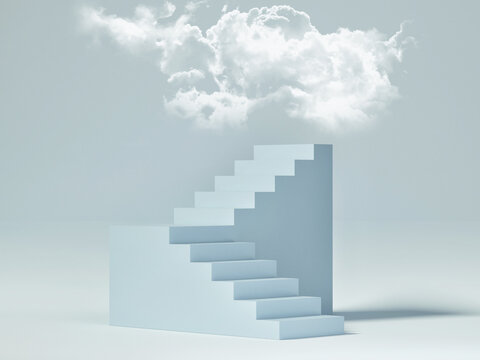 Abstract mockup podium for product presentation, blue background with clouds, 3d render, 3d illustration.