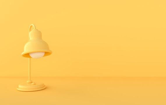 Yellow desk lamp 3d rendering