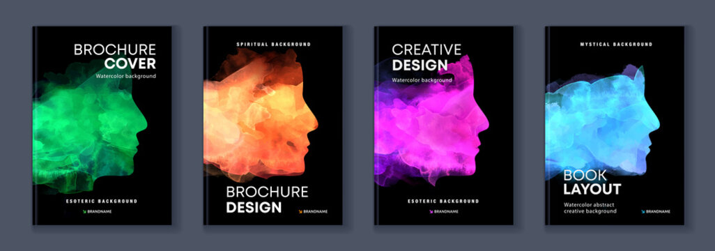 Watercolor booklet colourful cover bundle set with head profile silhouette template for psychology, esoteric or spiritual book