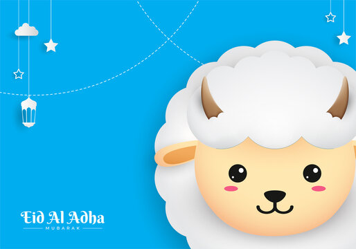 Eid Al Adha Mubarak celebration card with paper art sheep hanging on blue background. Use for banner, poster, flyer, brochure sale template.