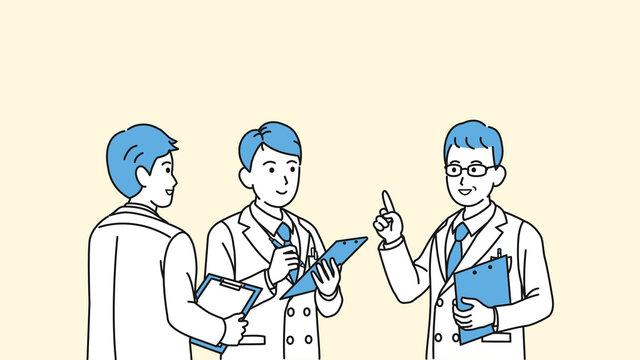 研修 ミーティングをする医者 研修医 研究員 科学者 白衣を着た男性 イラスト素材