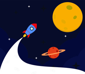 Fototapeta Rocket to The Moon, Startup in flat design obraz