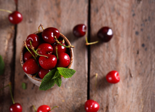 Organic berries ripe cherry on a table