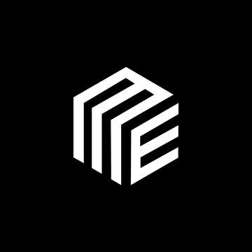 ME letter logo design on black background.ME creative initials letter logo concept.ME letter design.