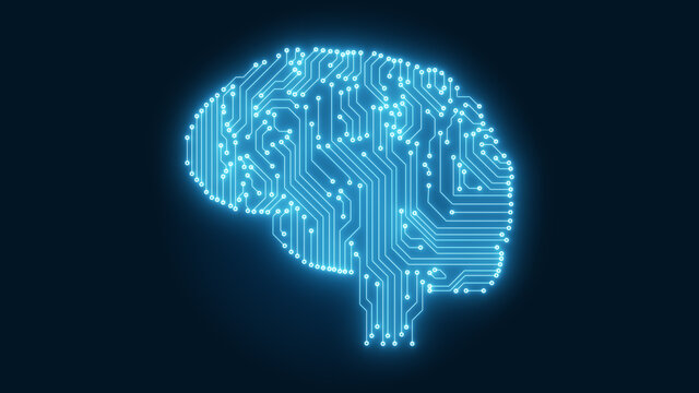 Glowing blue circuitry computer brain illustrating Artificial Intelligence