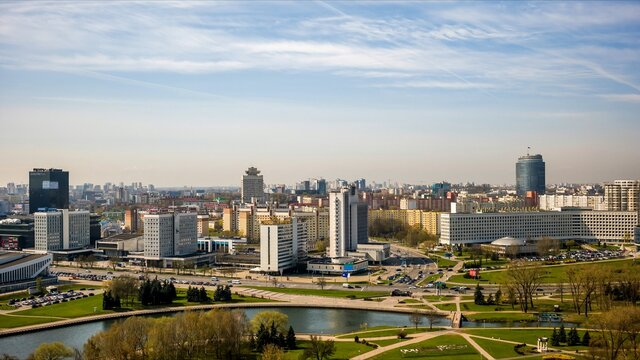 Morning timelapse of the panorama of the capital of Belarus, Minsk.