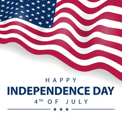USA Flag illustration for Happy independence day of United States of America background.