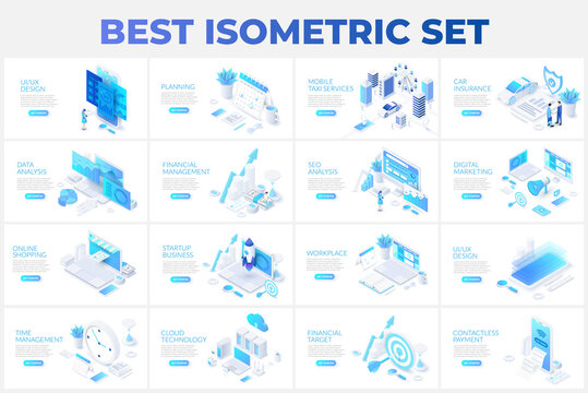 Large set of isometric illustrations with characters for landing page, advertisement or presentation. Data analysis, management, SEO, online shopping and startup business
