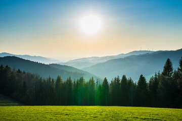 Germany, Schwarzwald forest silhouette of trees covering the valleys and mountains, a scenery perfect for hiking