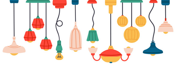 Lamps and chandeliers, hand drawn interior items and lighting elements