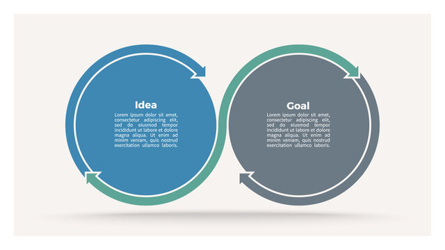 Business process. Timeline infographics with 2 steps, options, sections. Vector template.