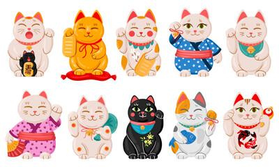 Japanese maneki neko cats. Cartoon lucky japan traditional cat toys, kawaii oriental fortune symbol animal vector illustration set. Cute asian maneki neko cats