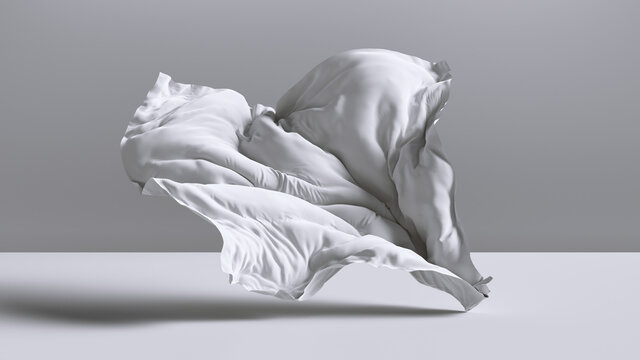 3d render. Abstract fashion background with white drapery falling on the floor inside the empty room. Silk textile is blown away by the wind