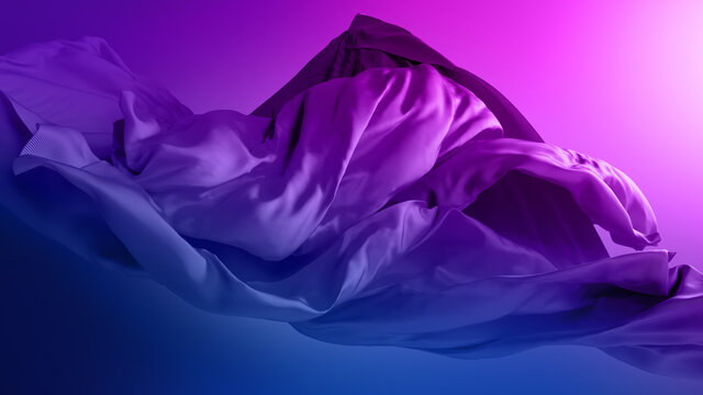 3d render. Abstract folded cloth, silk textile, neon pink blue drapery ultraviolet background