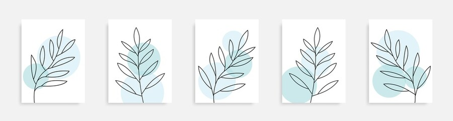 Countinuous line drawing leaves posters. One line plants collection. Nature concept posters set. Botanical wall art. Poster minimalism design. Line leaves. Vector Graphic.