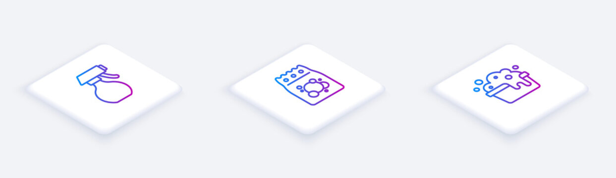 Set Isometric line Water spray bottle, Laundry detergent and Basin with soap suds. White square button. Vector