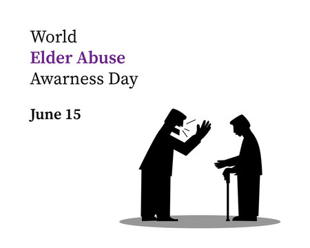 world elder abuse awareness day . illustration as a poster banner template isolated on white background .