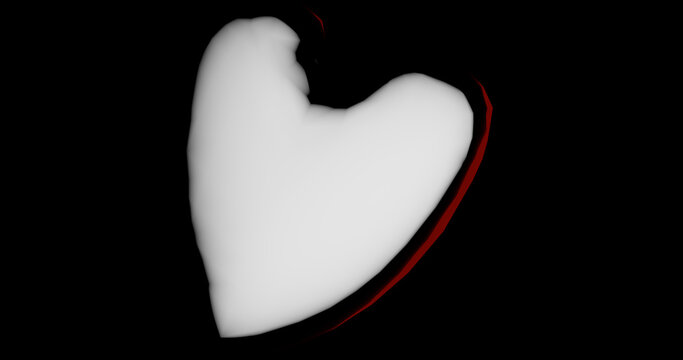 Render with a curved crumpled heart on a black background