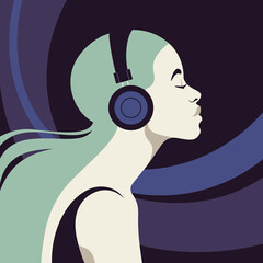 Profile of a young woman listens to the music on the headphones. Music therapy. The musician avatar. Side view. Vector flat illustration