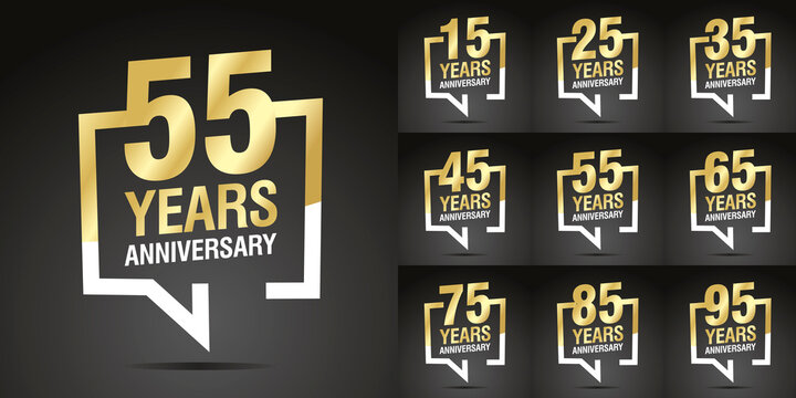Set of Anniversary vector creative design emblems with speech brackets numbers golden color for celebration event, invitation, greeting, web template, leaflet and booklet