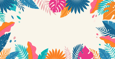 Fototapeta Hello Summer concept design, summer panorama, abstract illustration with jungle exotic leaves, colorful design, summer background and banner obraz
