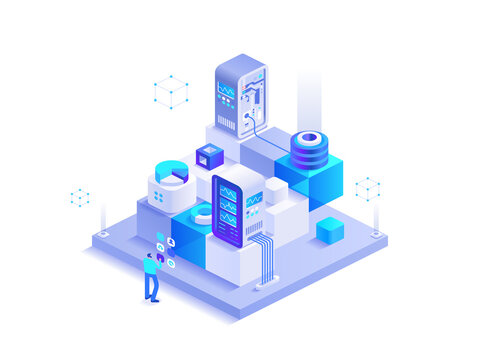 Blockchain mining technology isometric abstract concept