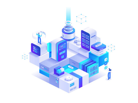 Blockchain technology abstract isometric concept