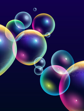 Creative colourful abstract rainbow bubbles background. Vector illustration.