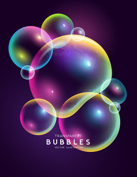 Isolated set of magical rainbow coloured floating transparent bubbles. Abstract Vector illustration.