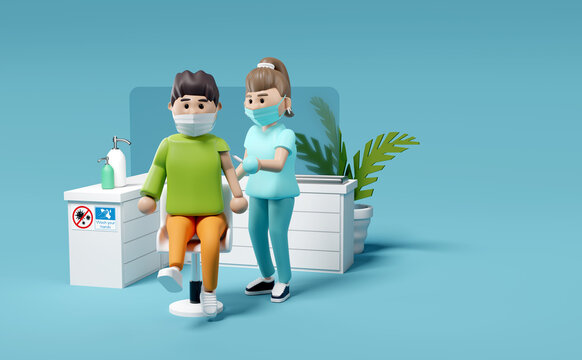 A male patient receiving a Covid-19 Vaccination from a nurse at a vaccination centre. Medical People characters 3D illustration.
