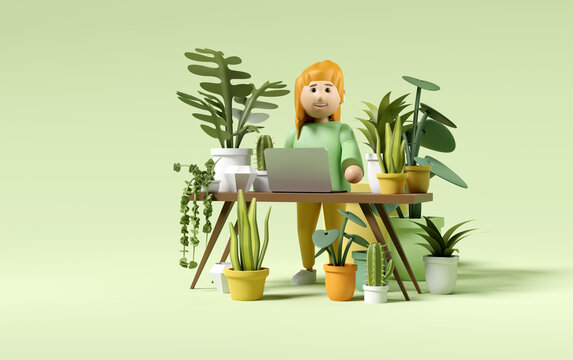 A women caring for house plants while working. Small business start up people character concept. 3D illustration.