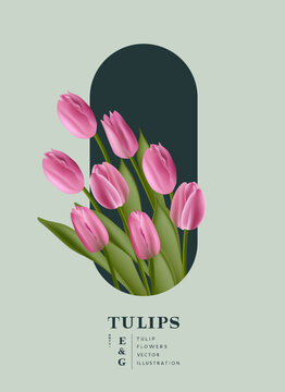 Floral realistic Tulips flowers placement card background. Contemporary layout vector illustration.