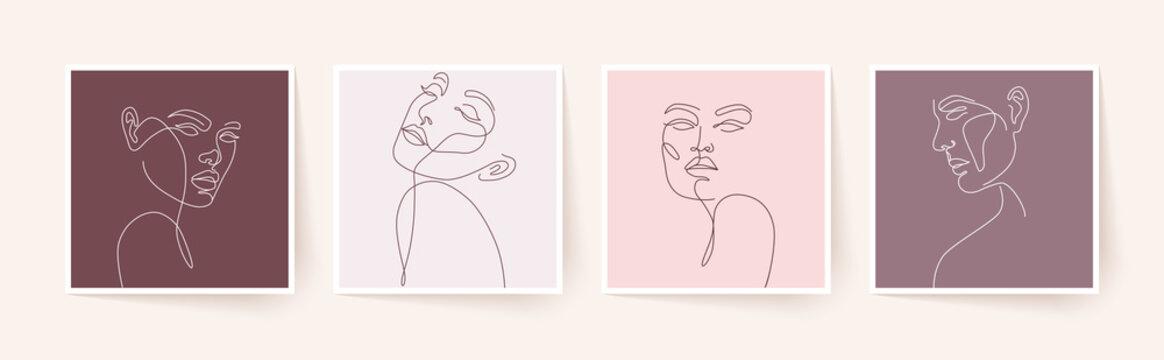 Set of stylized woman faces. Modern single line art. Woman beauty fashion concept, minimalistic style.