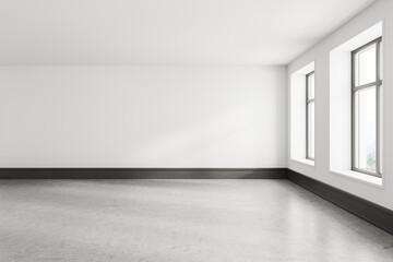 Fototapeta Empty white room interior with gray floor and two windows obraz