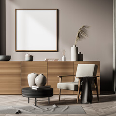 Light and wooden living room interior with drawer and chair, mock up poster