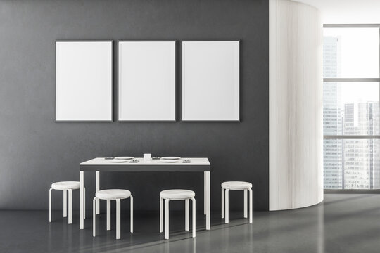 White wooden and gray panoramic dining room interior, three posters